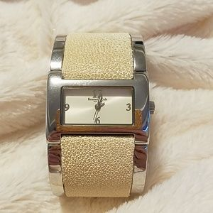 Kenneth Cole cream leather & silver watch